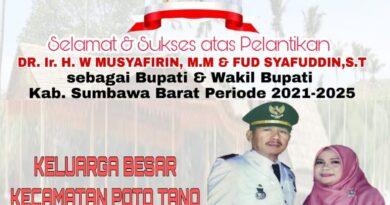Camat Poto Tano Ucapkan Selamat dan Sukses Atas Pelantikan Bupati dan Wakil Bupati Sumbawa Barat